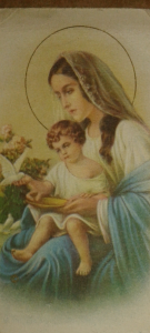 Holy Mother and Child bookmark --- vintage 1940's from Italy